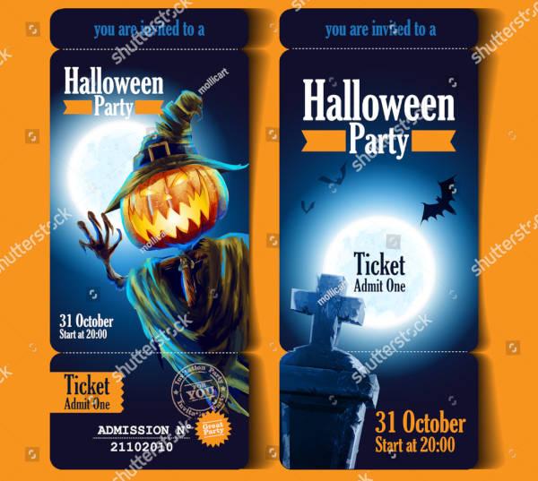 halloween party invitation ticket design