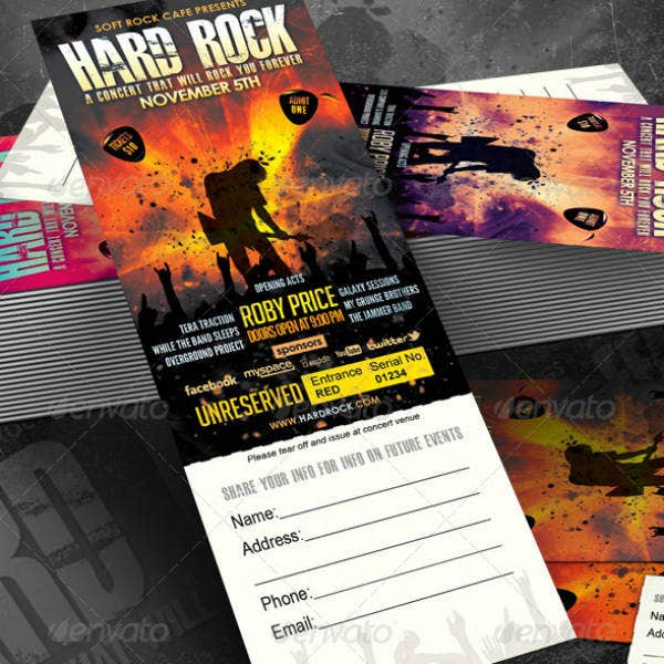 Hard Rock Music Event Ticket Template