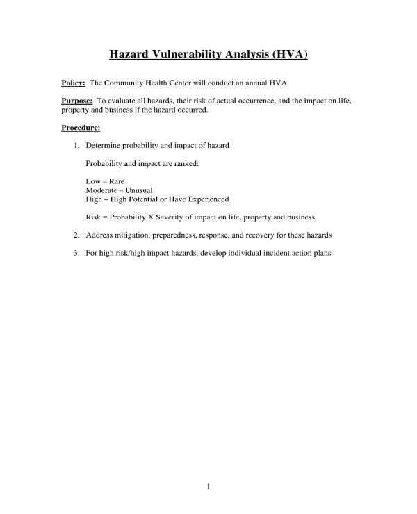 hazard vulnerability analysis template