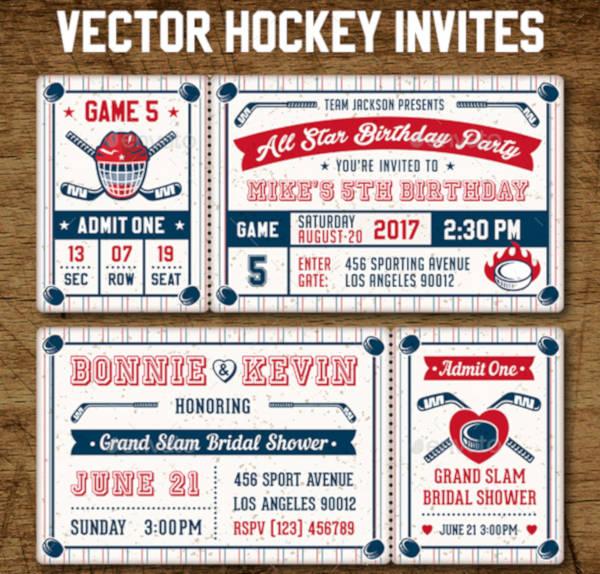 Hockey Sports Ticket Invitation Example