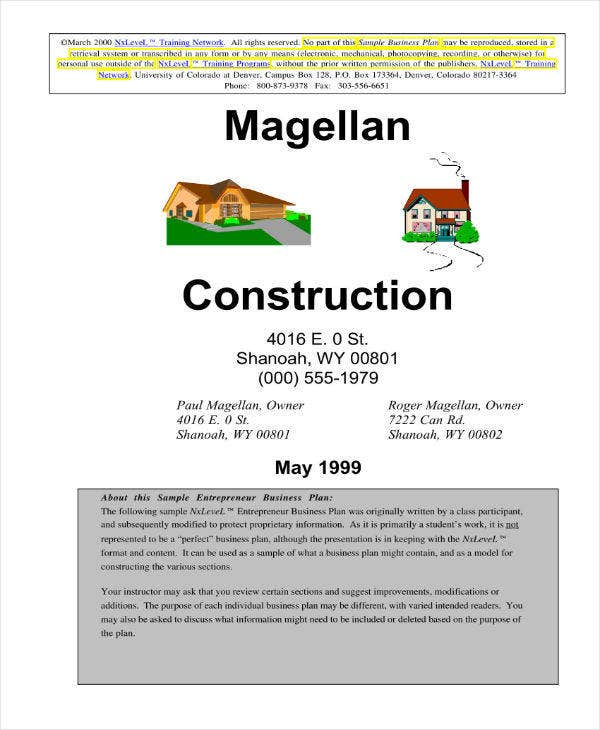 Home Building Contractor Business Plan