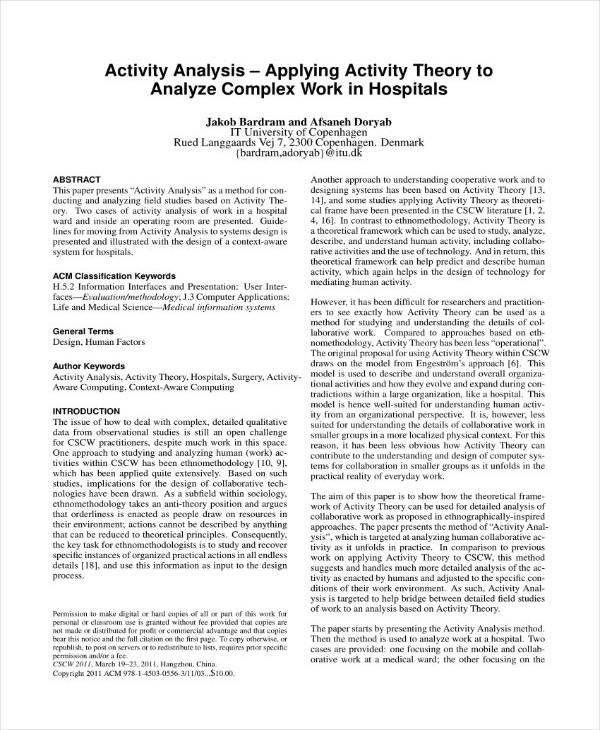 hospital activity analysis example