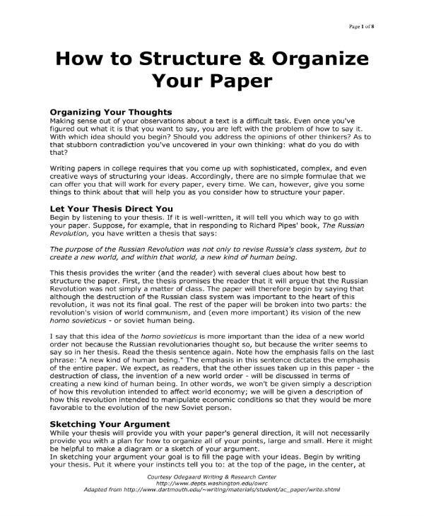 how to structure your paper 1