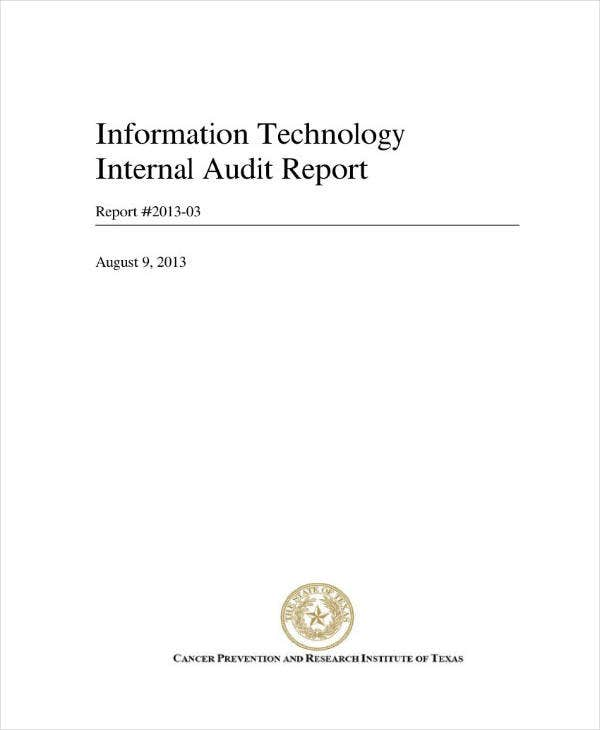 it internal audit report example