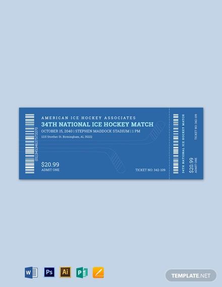 ice hockey ticket template