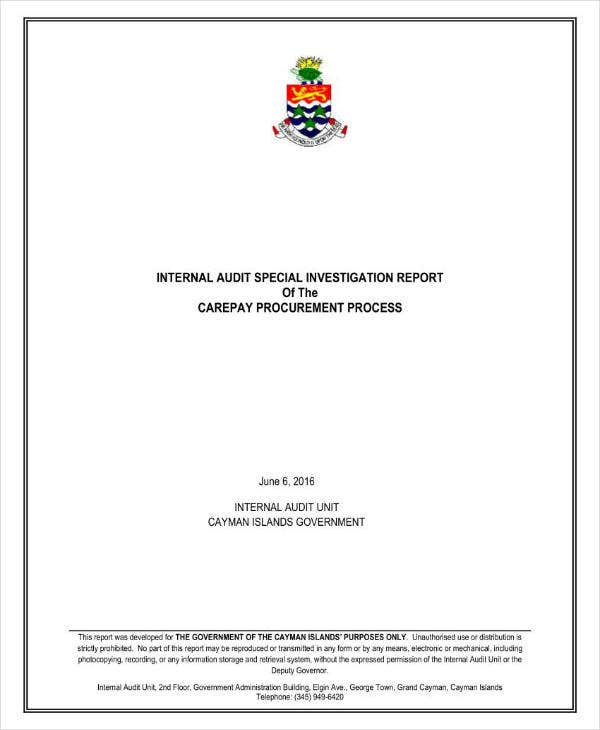 Internal Audit Special Investigation Report
