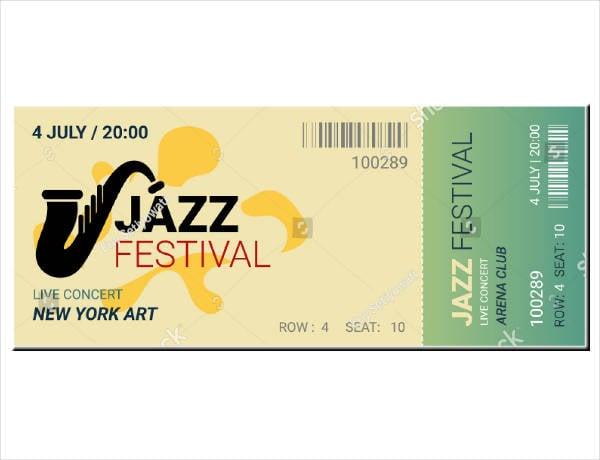 jazz concert festival ticket template