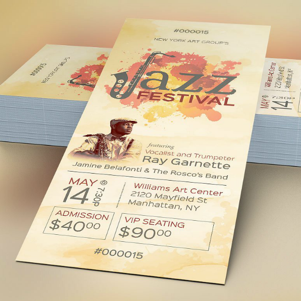 Jazz Festival Event Ticket Template