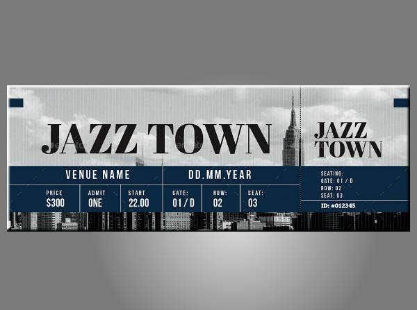 Jazz Town Festival Ticket Template