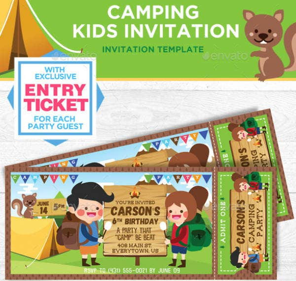 Kids Camping Birthday Ticket Invitation