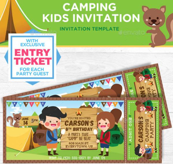 Kids Camping Birthday Ticket Invitation