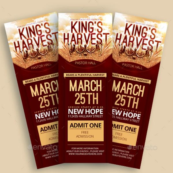 Kings Harvest Concert Ticket Template