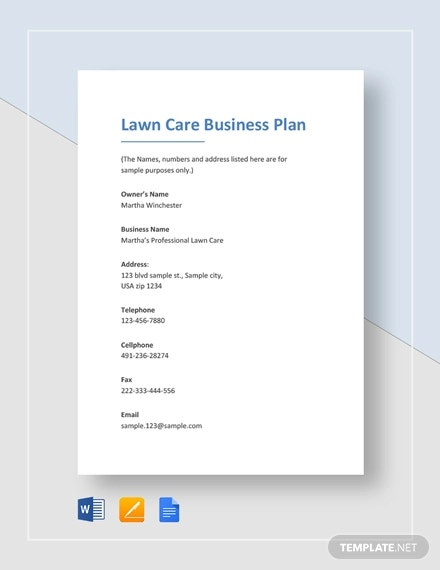 5 Lawn Care Business Plan Templates Pdf Word Free