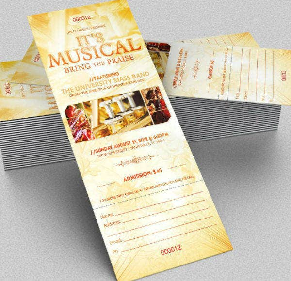 live musical concert ticket template