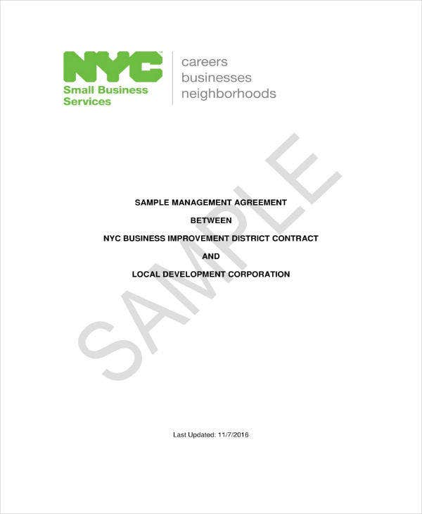 management agreement contract sample