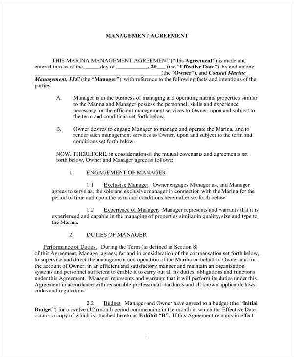 Management Contract Agreement