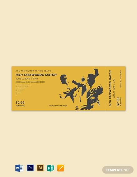 martial arts ticket template