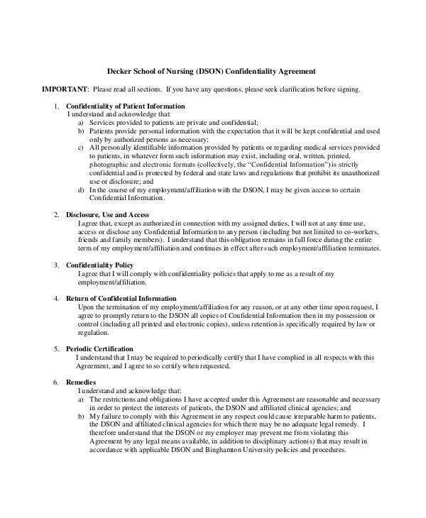 medical understanding confidentiality agreement sample