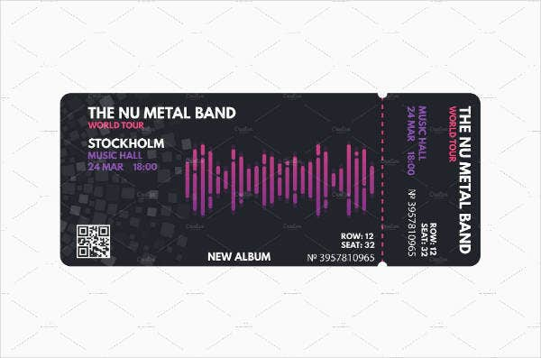metal musical concert ticket template