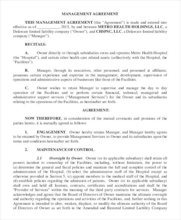 Metro Management Contract Agreement