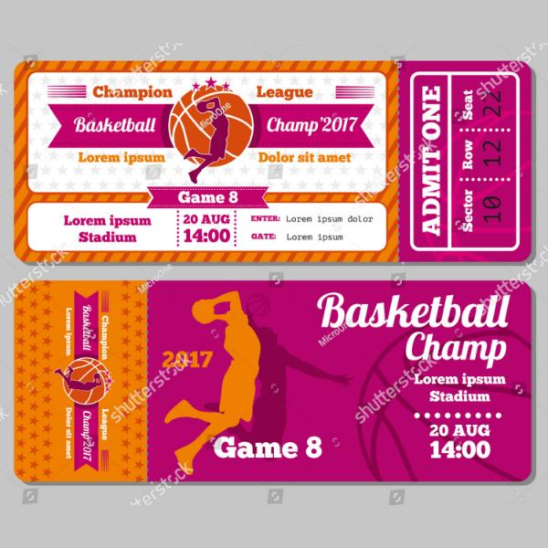 Modern Basketball Champ Ticket Template