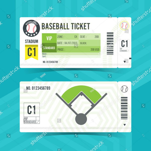 Modern Element Baseball Ticket Template