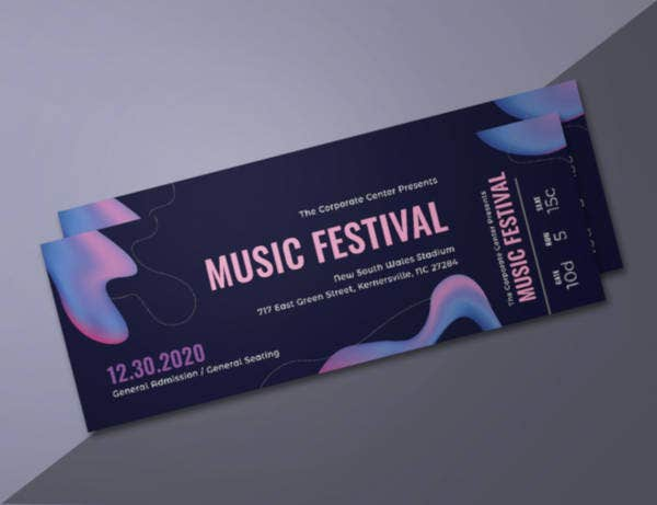 modern music concert ticket template