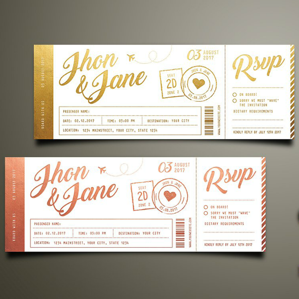 modern wedding invitation ticket template