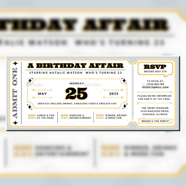16 Movie Ticket Invitation Designs Templates Psd Ai Free