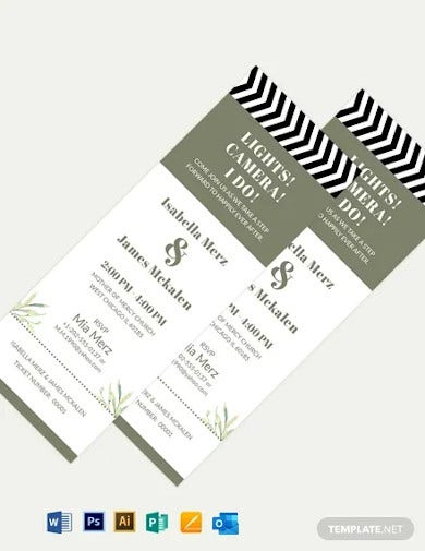 movie ticket fall wedding invitation template