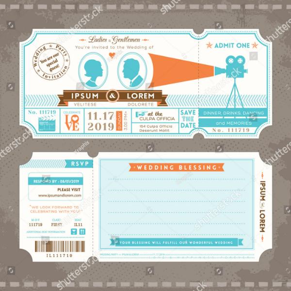 movie ticket wedding invitation template