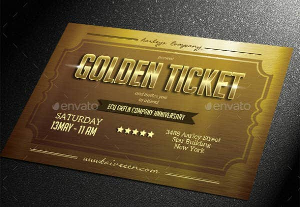 Multipurpose Event Golden Ticket Template