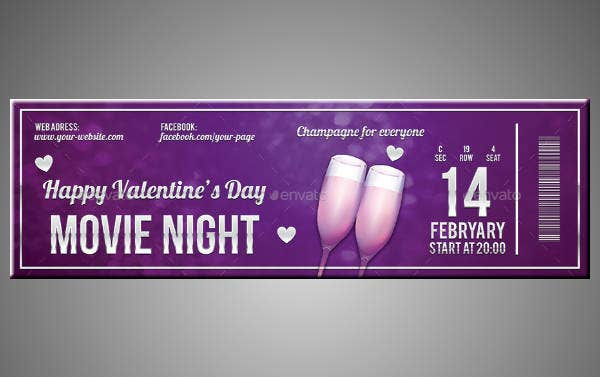 Multipurpose Valentines Day Ticket Template