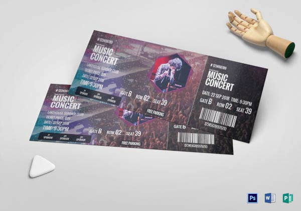 music concert ticket sample