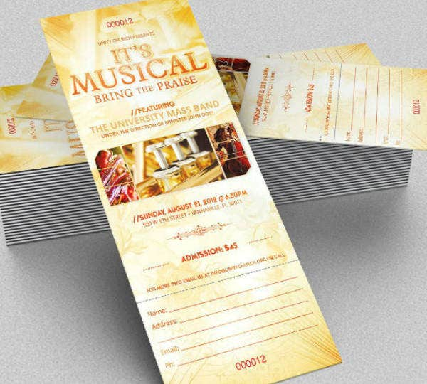 musical concert ticket example