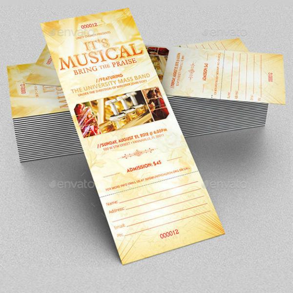 Musical Praise Concert Ticket Template