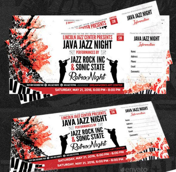 night music concert ticket template