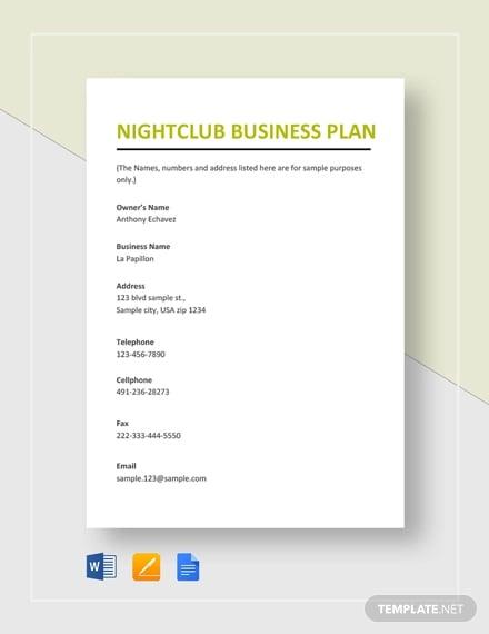 nightclub business plan template