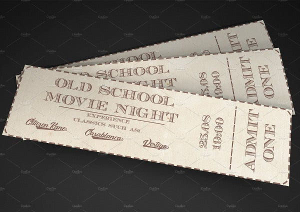 old school cinema movie ticket1