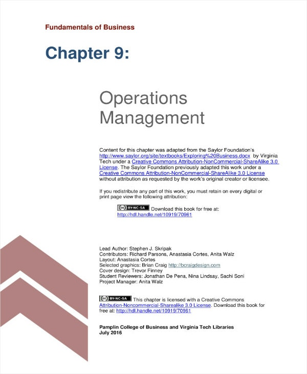 5+ Operations Management Plan Templates - PDF, Word