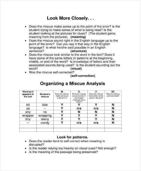 5+ Miscue Analysis Templates - PDF | Free & Premium Templates