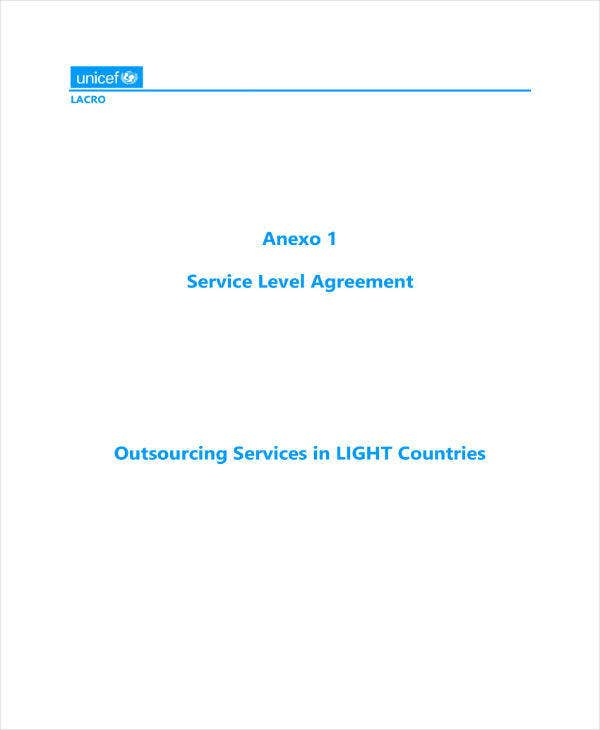 outsourced services level agreement