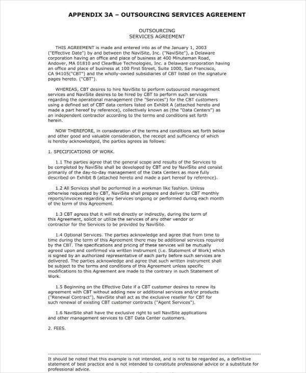outsourcing services agreement sample