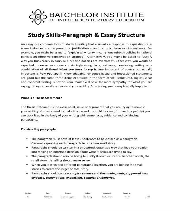 paragraph and essay structure 1