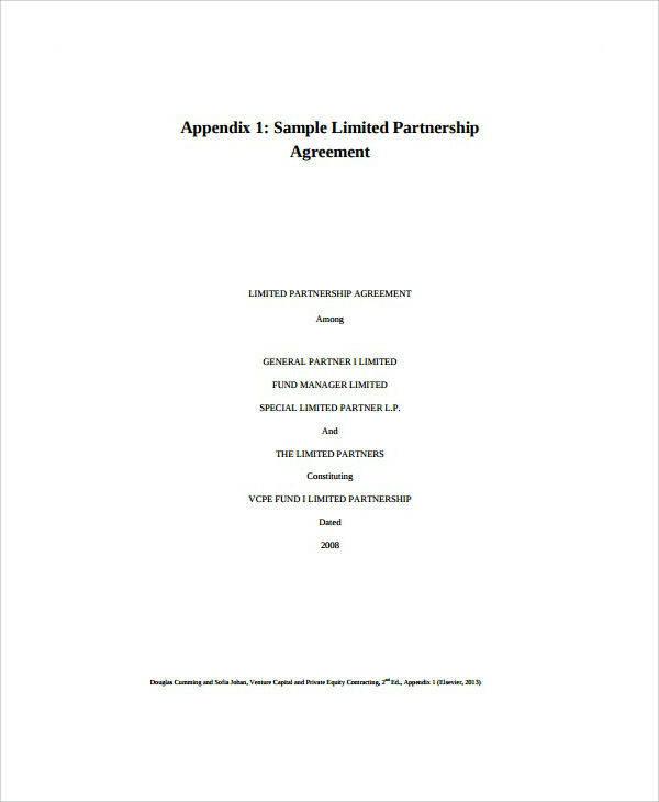 Partnership Venture Capital Agreement Template