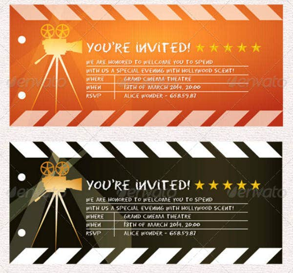 picture about Printable Movie Ticket Invitation named 16+ Online video Ticket Invitation Options Templates - PSD, AI