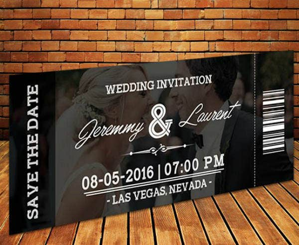 photographic wedding invitation ticket template