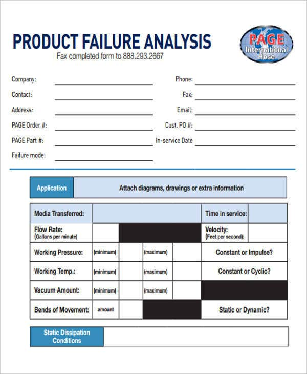 product failure analysis report
