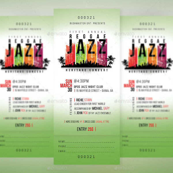 Reggae Jazz Event Ticket Template