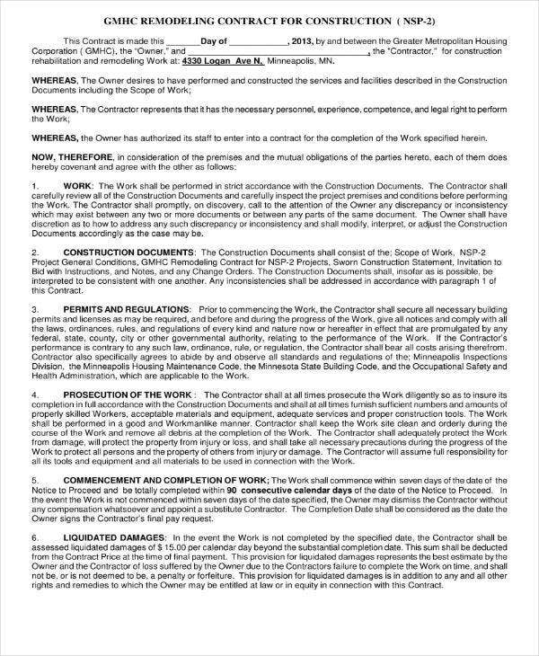 remodeling contract for construction